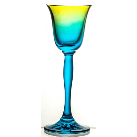 Coloured Crystal Sherry and Liqueur Glasses Set of 6