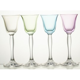 Coloured Crystal Sherry and Liqueur Glasses Set of 4