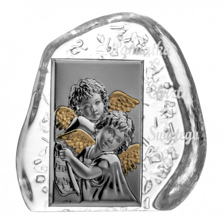 Crystal Paperweight with Angels and Child