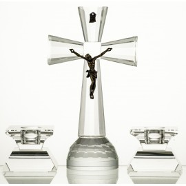 3-Piece Crystal Ars Christiana Set Crucifix and Candlesticks (13226)