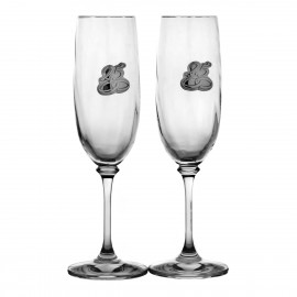 25th Wedding Anniversary Crystal Champagne Glasses, Set of 2 10158