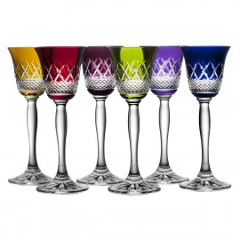 Coloured Crystal Sherry and Liqueur Glasses, Set of 6 (11652)