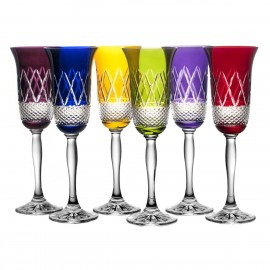 Coloured Champagne Glasses, Set of 6 (11651)