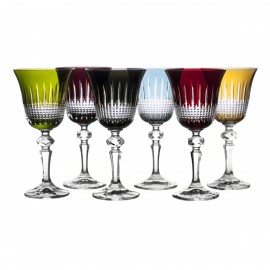 Painted Red Wine Glasses Set of 6