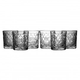 Crystal Engraved Whisky Glasses Set of 6