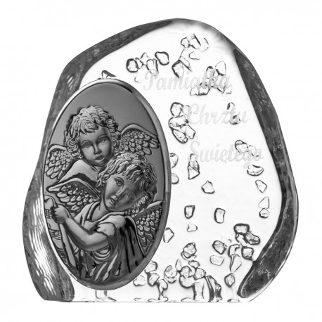 Crystal block, paperweight with Angels for Baptism (religious giftware) - 3685 -
