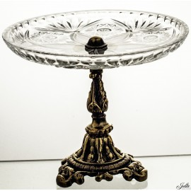 Crystal and Brass Cake Stand