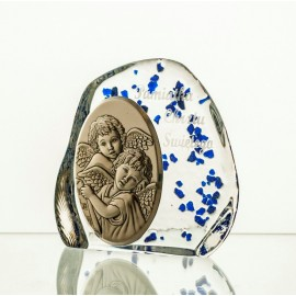Crystal Paperweight with Angels and Child 2567
