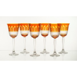 Painted Red Wine and Water Glasses, Set of 6 9970