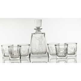 Crystal Engraved Whisky Decanter and Glasses Set 4638