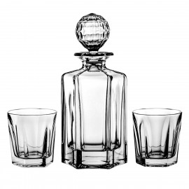 Set of crystal decanter and 6 whisky glasses -2111-
