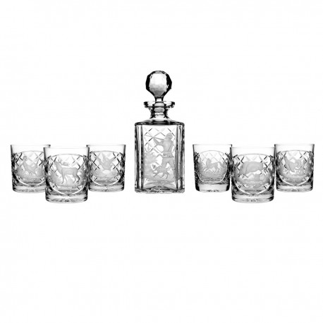 Engraver set of crystal decanter and 6 whisky glasses - 2587