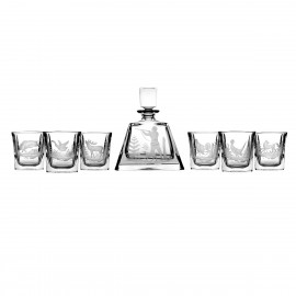 Engraver set of crystal decanter and 6 whisky glasses - 3162 -