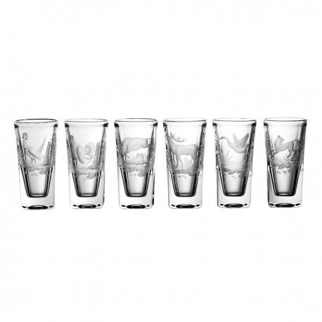 Set of crystal vodka glasses with engraver of hunting - 3746