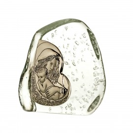 Crystal Paperweight with Mary and Baby Jesus 3951