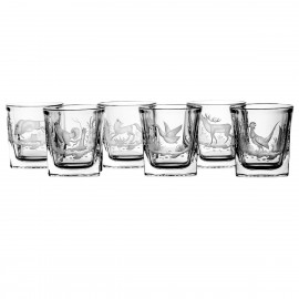 Set of engraver crystal whisky glasses, 6 pcs - 4159 -