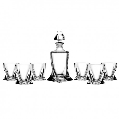 Set of decanter and 6 whisky glasses -4381-