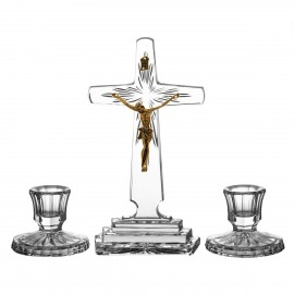 3-Piece Crystal Ars Christiana Set Crucifix and Candlesticks 0531