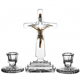3-Piece Crystal Ars Christiana Set Crucifix and Candlesticks 0532