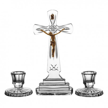 Set of crystal cross and 2 candlesticks - 0640-
