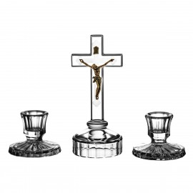 3-Piece Crystal Ars Christiana Set Crucifix and Candlesticks 0770