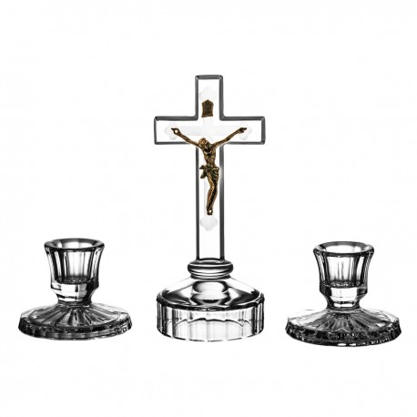 Set of crystal cross and 2 candlesticks - 0770 -