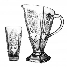 Set of crystal jug and 6 juice glasses - 3299