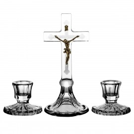 3-Piece Crystal Ars Christiana Set Crucifix and Candlesticks 0481