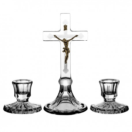 Set of crystal cross and 2 candlesticks -0481-