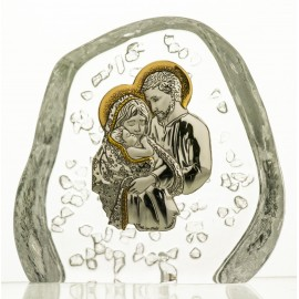 Crystal Paperweight with Holy Family 4154
