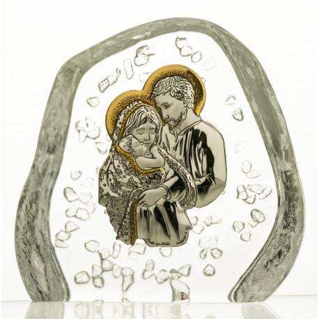 Crystal block, paperweright with Holy Family - 4154 -