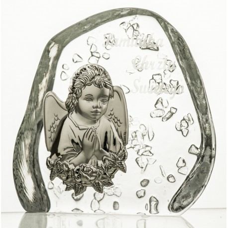 Crystal block, paperweight with Angel for Baptism (religious giftware) - 3620