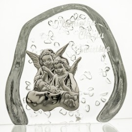 Crystal Paperweight with Angels and Child 3686