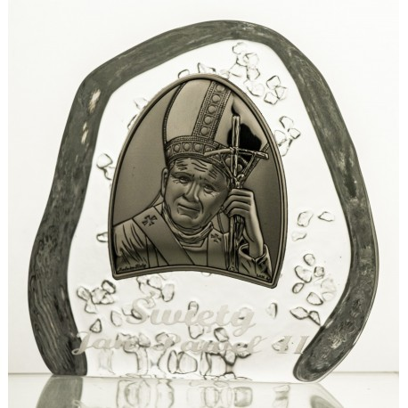 Crystal block, paperweight with Jonh Paul II - 3976 -