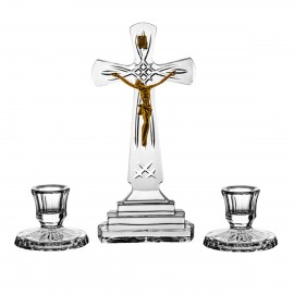 Set of crystal cross and 2 candlesticks -0639 -