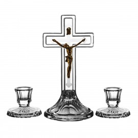 3-Piece Crystal Ars Christiana Set Crucifix and Candlesticks 0479