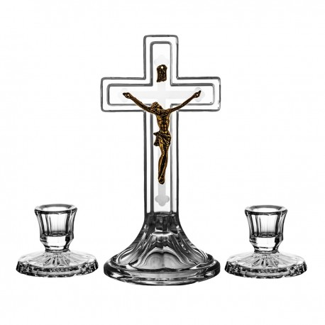 Set of crystal Cross 20 cm with two candelsticks - 0479