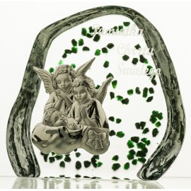 Crystal Paperweight with Angels and Child 2728