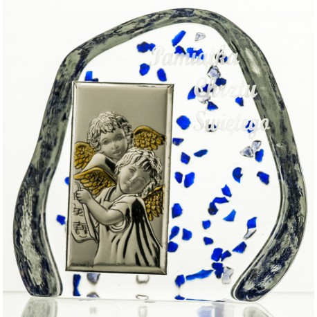 Crystal block, paperweight with Angels for Baptism (religious giftware) - 3981