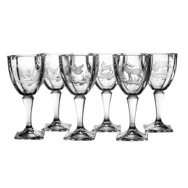 Engraved Red Wine and Water Glasses, Set of 6 4099