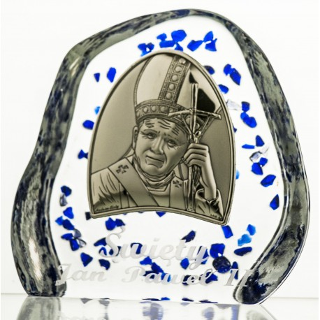 Crystal block, paperweight with John Paul II (religious giftware) -4546