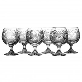 Crystal Engraved Cognac and Brandy Glasses, Set of 6 5371