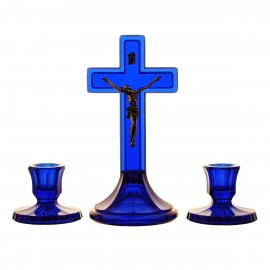3-Piece Crystal Ars Christiana Set Crucifix and Candlesticks 5550