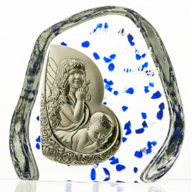 Crystal Paperweight with Angels and Child 2089