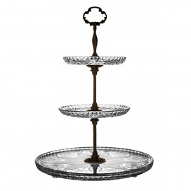 3-Tier Crystal and Brass Cake Stand 2128