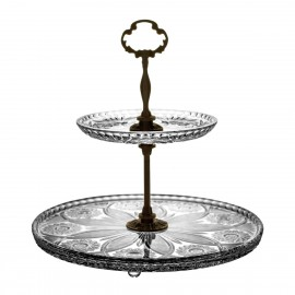 2-Tier Crystal and Brass Cake Stand 2122