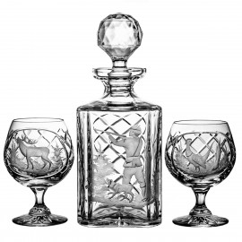 Engraver set of crystal decanter and 6 cognac glasses - 3837