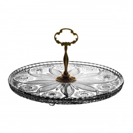 Crystal and Brass Cake Stand 2159