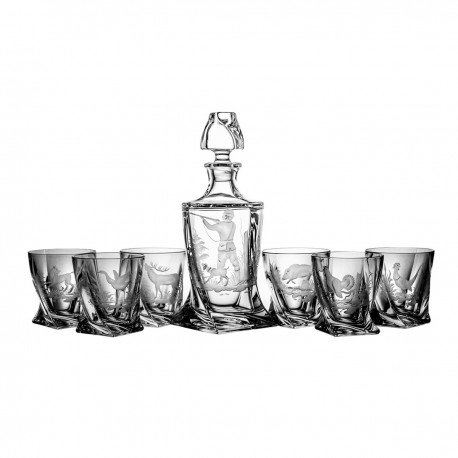 Engraver set of decanter and 6 whisky glasses - 2482