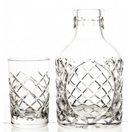 Set of crystal decanter bottle and glass